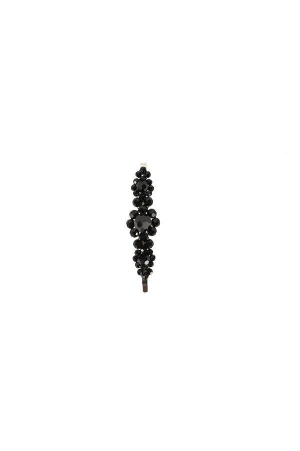 Barrette florale en perles de cristaux
